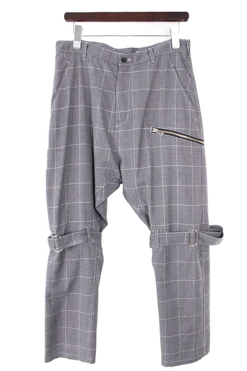グレンチェック裾ジップサルエルボンテージスラックスパンツ