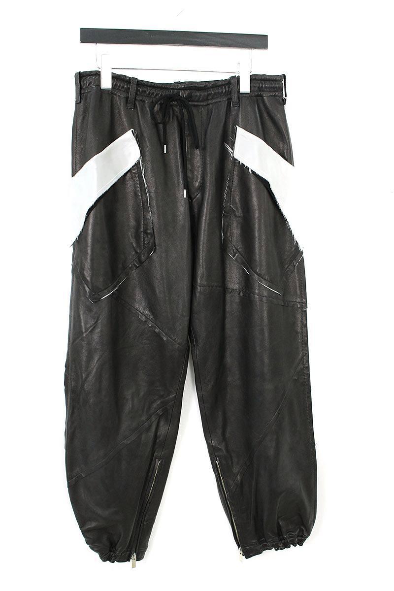 裾ジップポケットデザインレザーパンツ