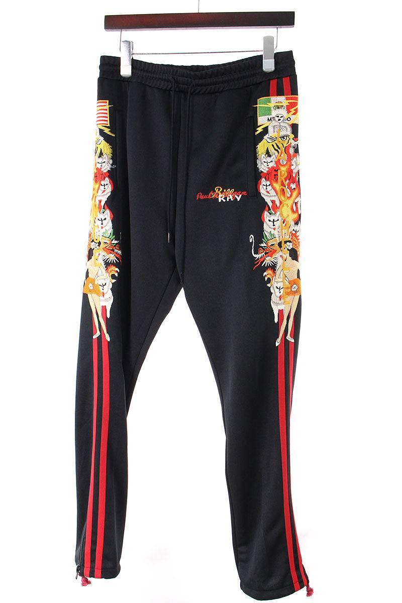 カオス刺繍裾ジップロングパンツ