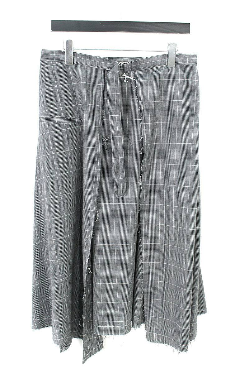 グレンチェックベルト付きサイドポケット巻きスカート