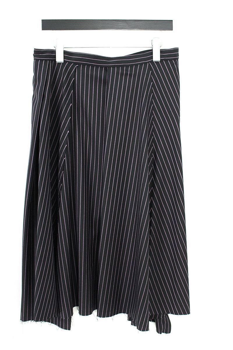 ストライプベルト付きサイドポケット巻きスカート