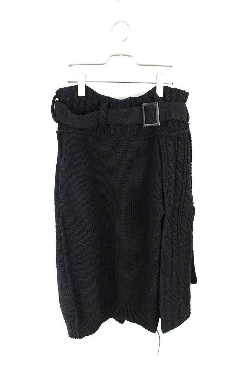 レザー編み込みウールスカート