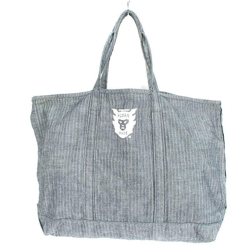 ロゴプリントヘリンボーントートバッグ