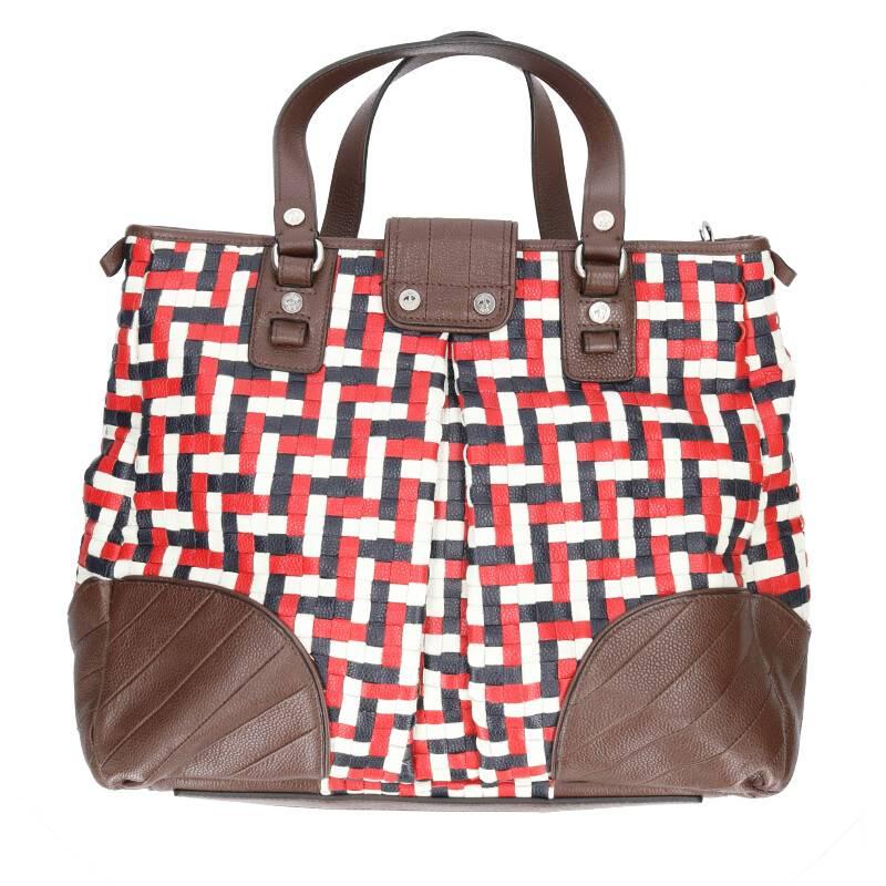 編み込みデザインレザートートバッグ