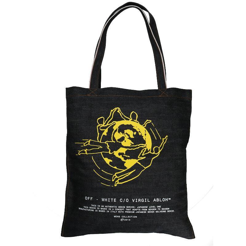 ロゴプリントデニムトートバッグ