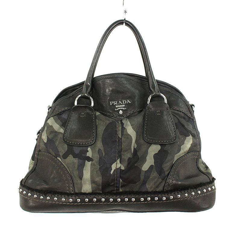 ストラップ付スタッズ装飾迷彩柄ハンドバッグ