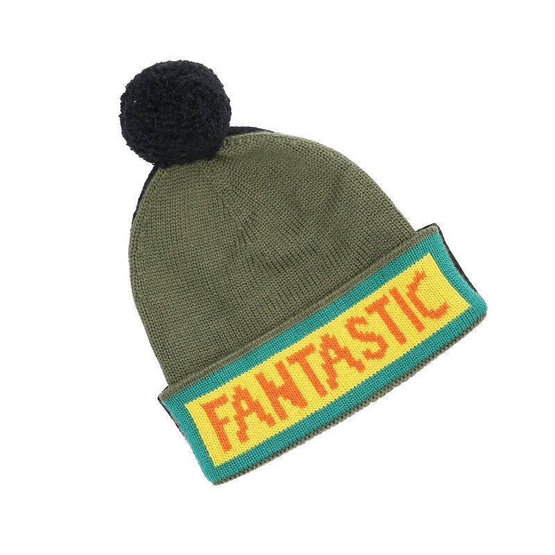 バイカラーロゴビーニーニット帽