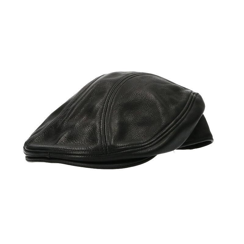 クロスパッチ付きレザーハンチングキャップ帽子