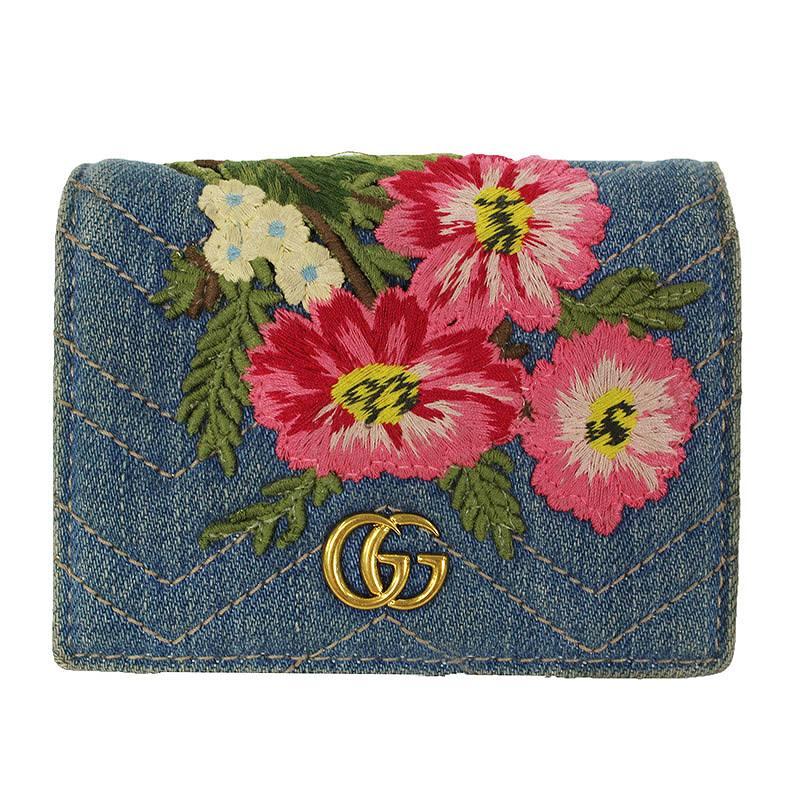 buy popular 4f345 7ec5d GUCCI】日本限量GG Marmont花卉刺绣牛仔布双折钱包|OR NOT