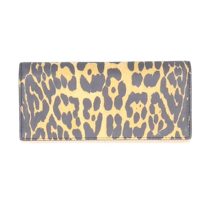 レオパード総柄二つ折りロングウォレット財布