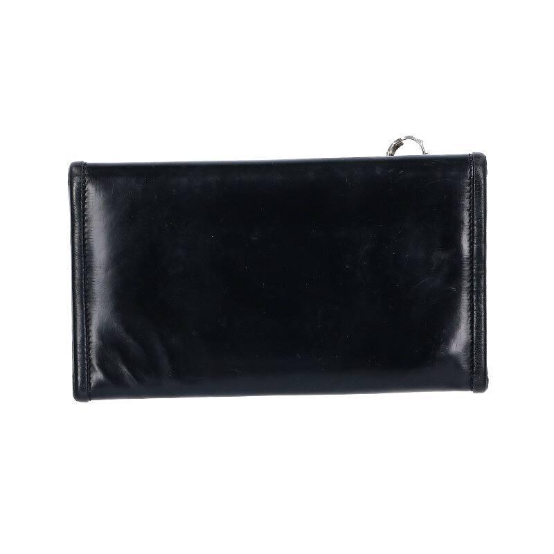 シルバーボタンロングレザー財布