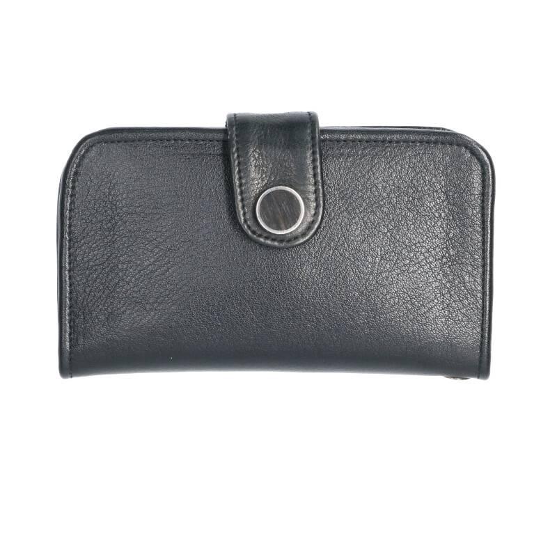 フラップボタンレザー財布