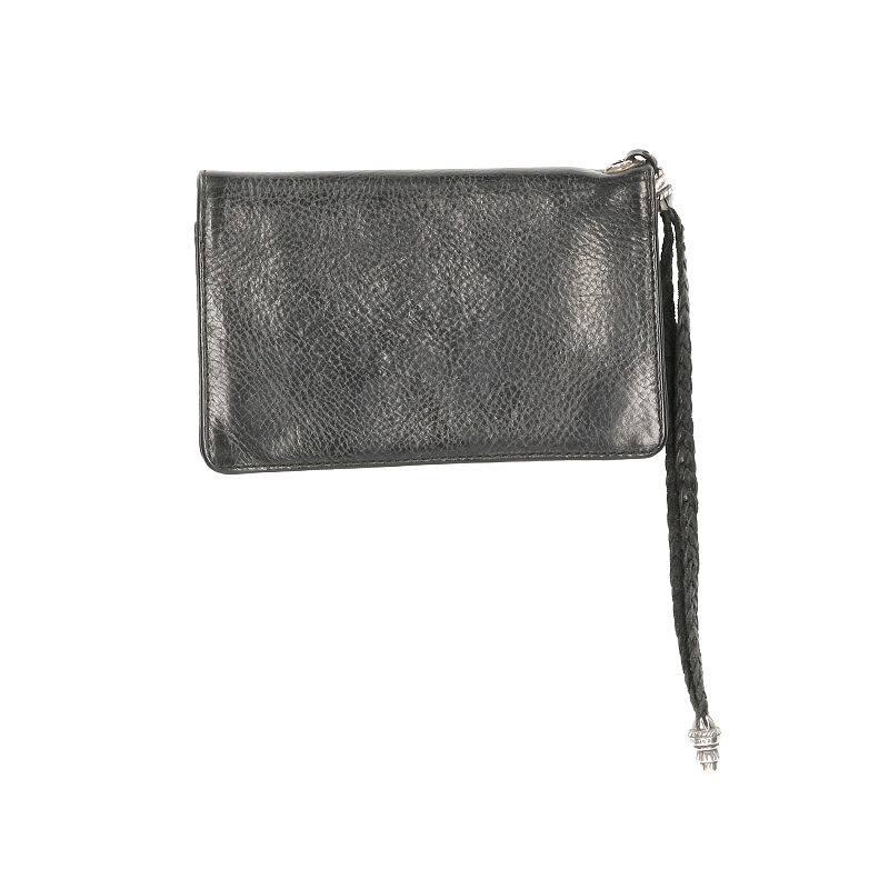 ストラップ付フローラルボタンレザーウォレット財布