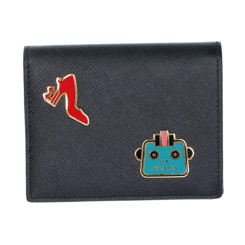 メタルプレート装飾サフィアーノレザー財布