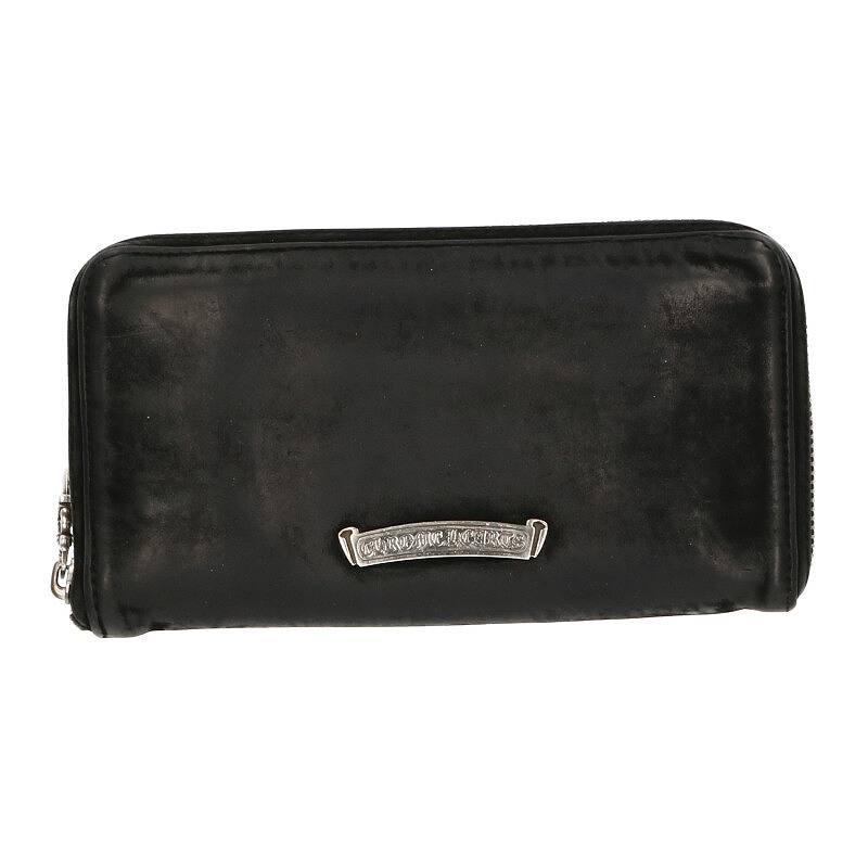 フィリグリープラス装飾ラウンドジップレザーウォレット財布