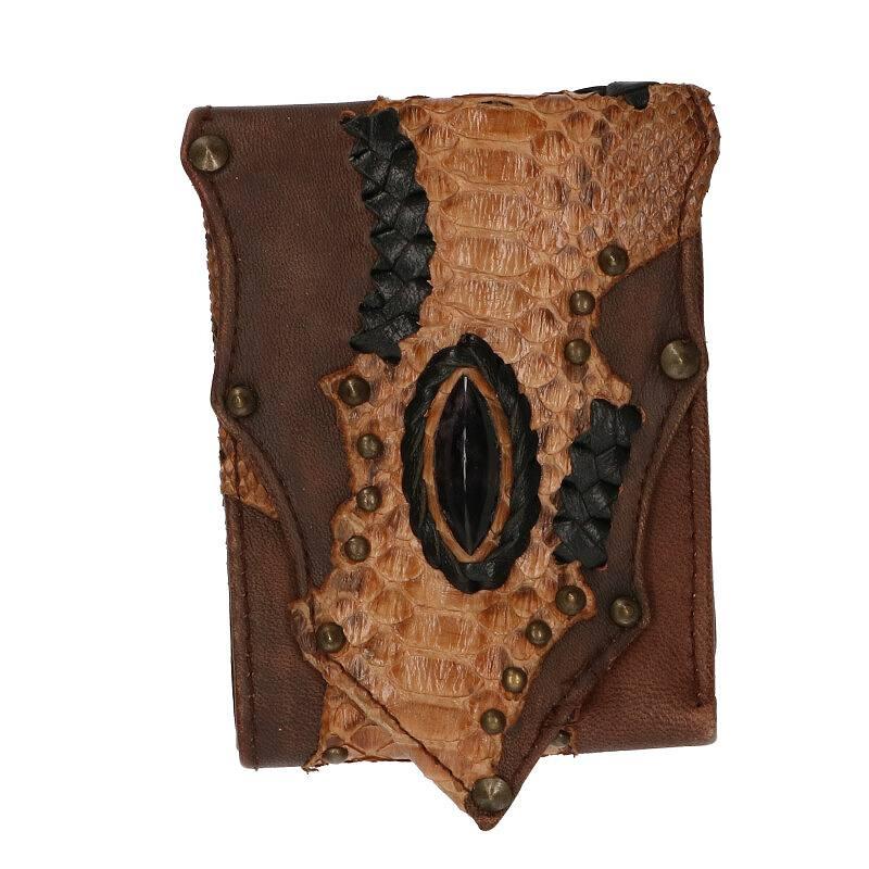 ストーン付きスタッズ装飾レザー財布
