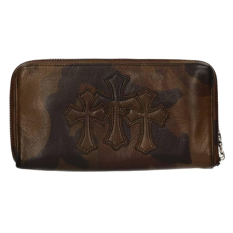 3クロスラウンドジップカモフラレザーウォレット財布