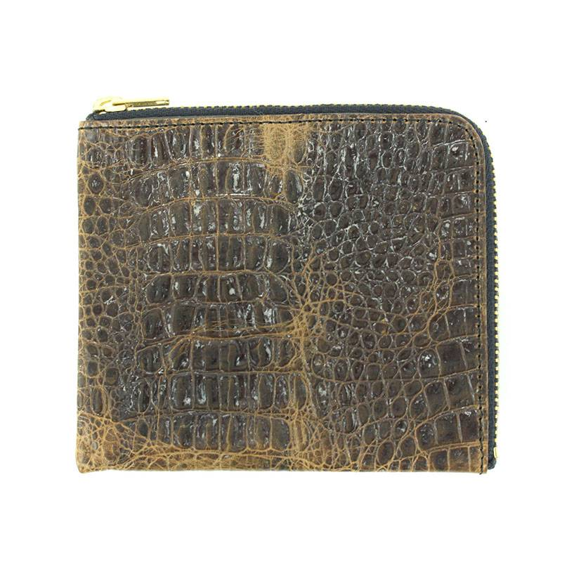 ユーズド加工クロコ型押しラウンドジップコインケース