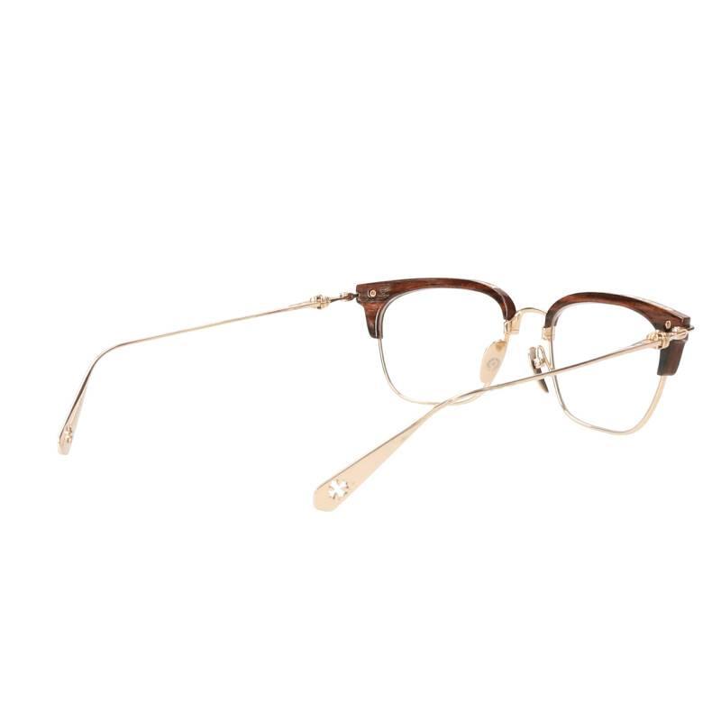 クロスボールエボニーウッドハーフリムスクエア眼鏡