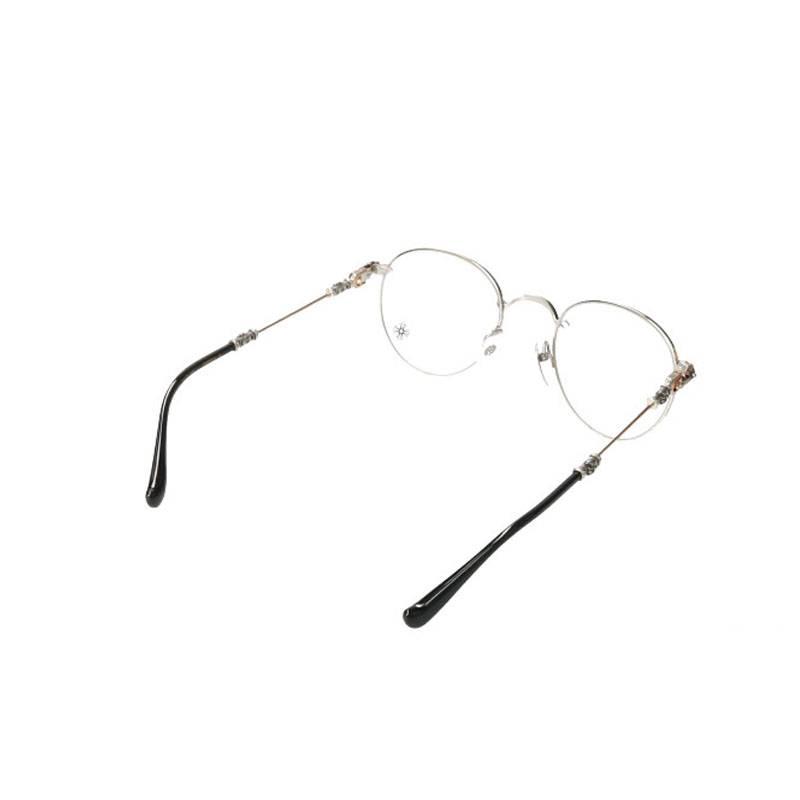クロステンプルメタルフレームラウンド眼鏡