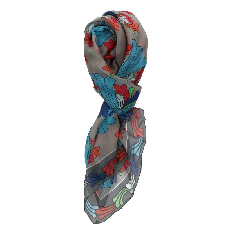 クロス総柄シルクスカーフ