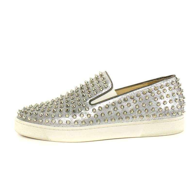 new concept f7dd5 8a615 Christian Louboutin】Laminated design studded low cut ...