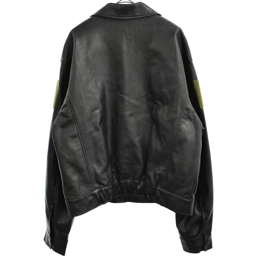 フェイクレザーパッチワークジャケット