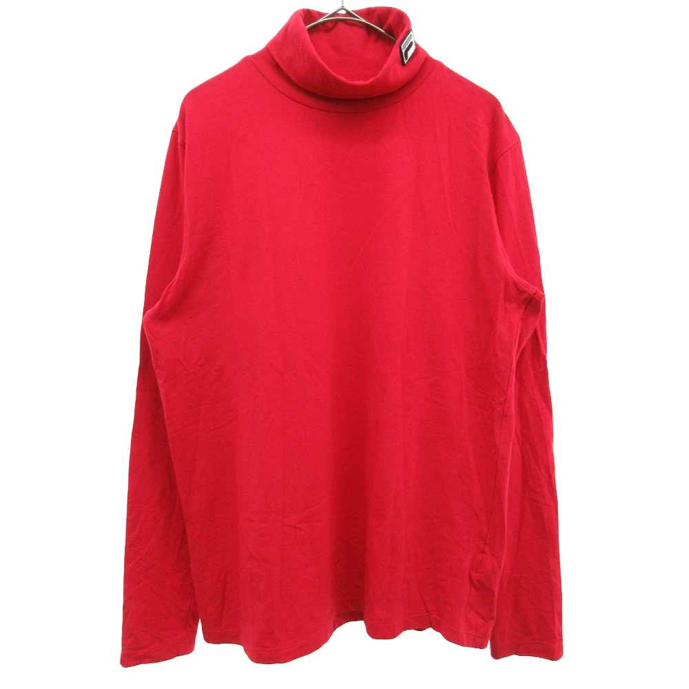 ×FILA タートルネックロゴ刺繍デザインロングスリーブカットソー ロンTシャツ