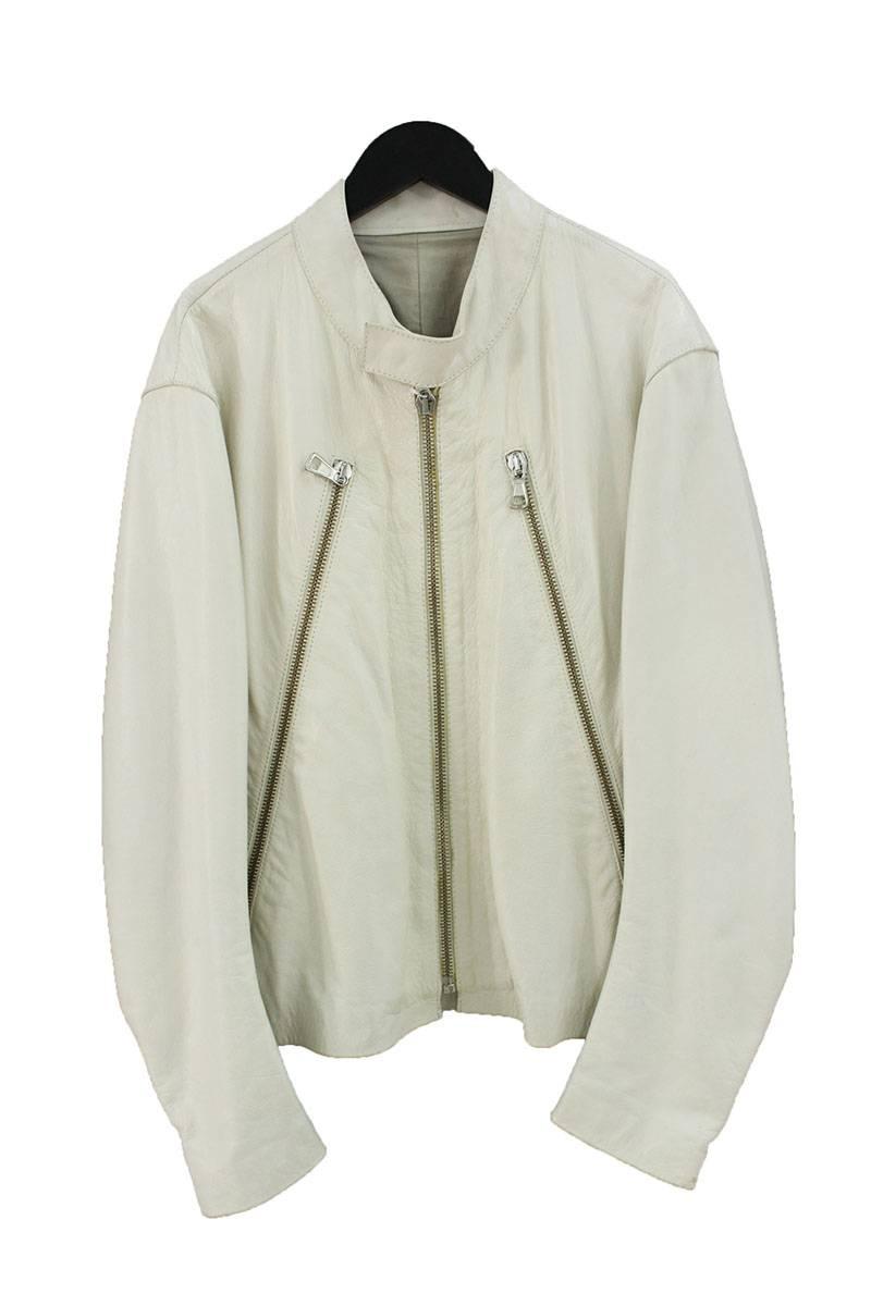 クリームホワイトカラー八の字レザージャケット