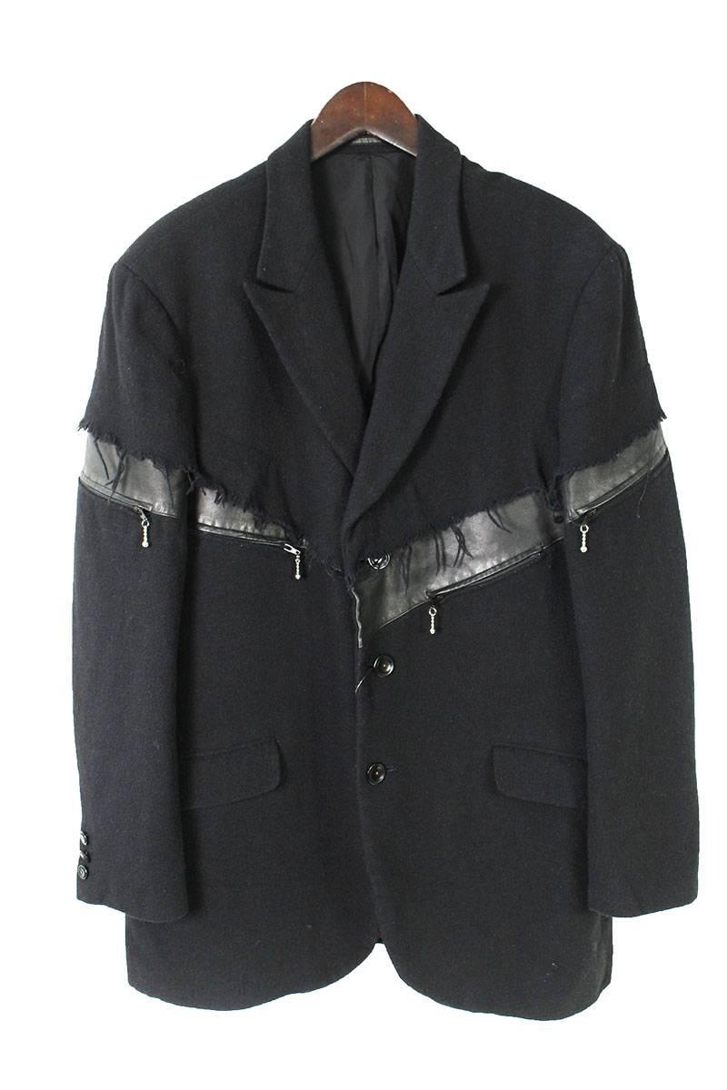 LOOK34レザー切り替えレイヤードジャケット