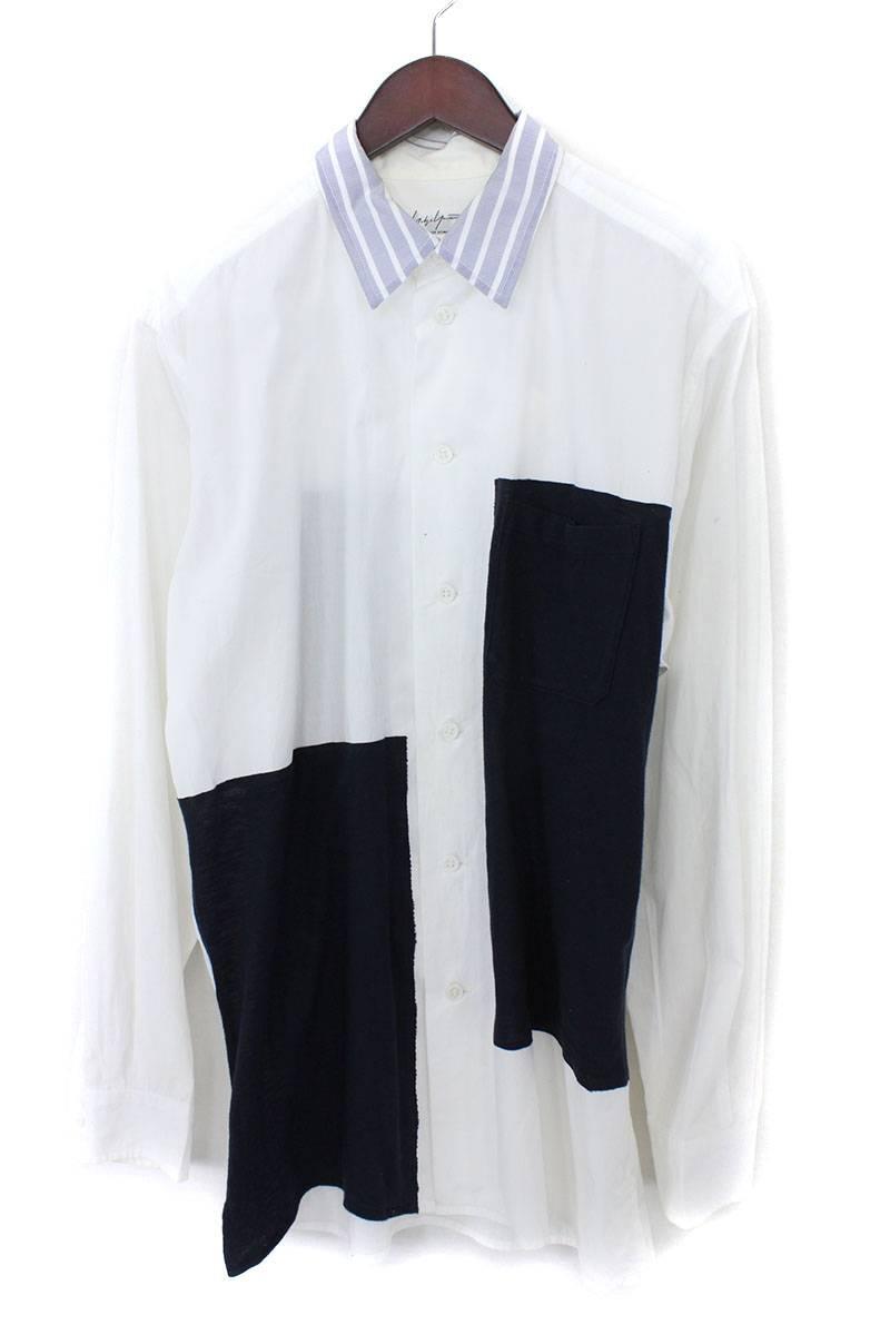 生地切替長袖シャツ