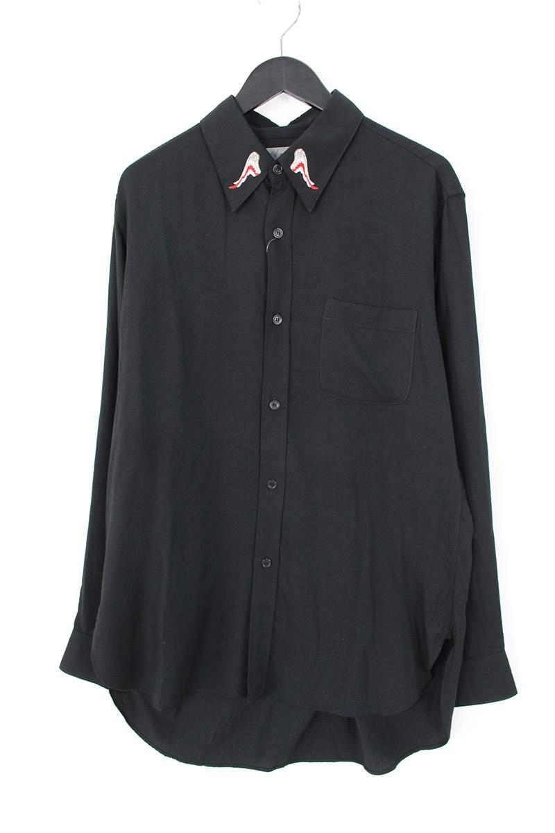 襟フェザー刺繍長袖シャツ