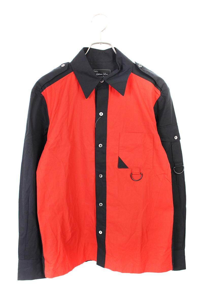 バイカラー長袖シャツ