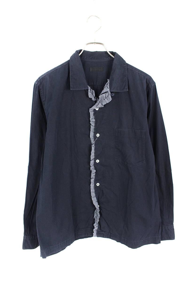 AD1998 フリル装飾コットン長袖シャツ