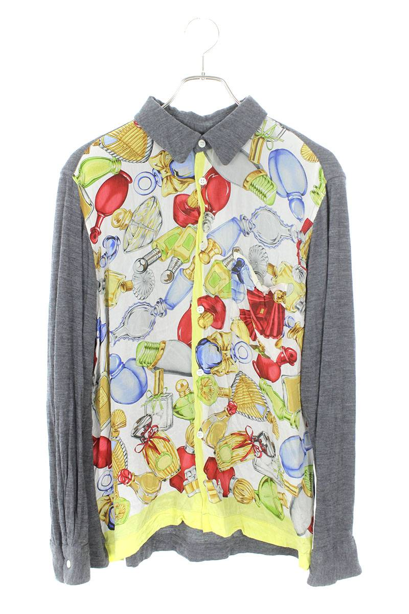 AD1999 シルクスカーフドッキングウールシャツ長袖シャツ