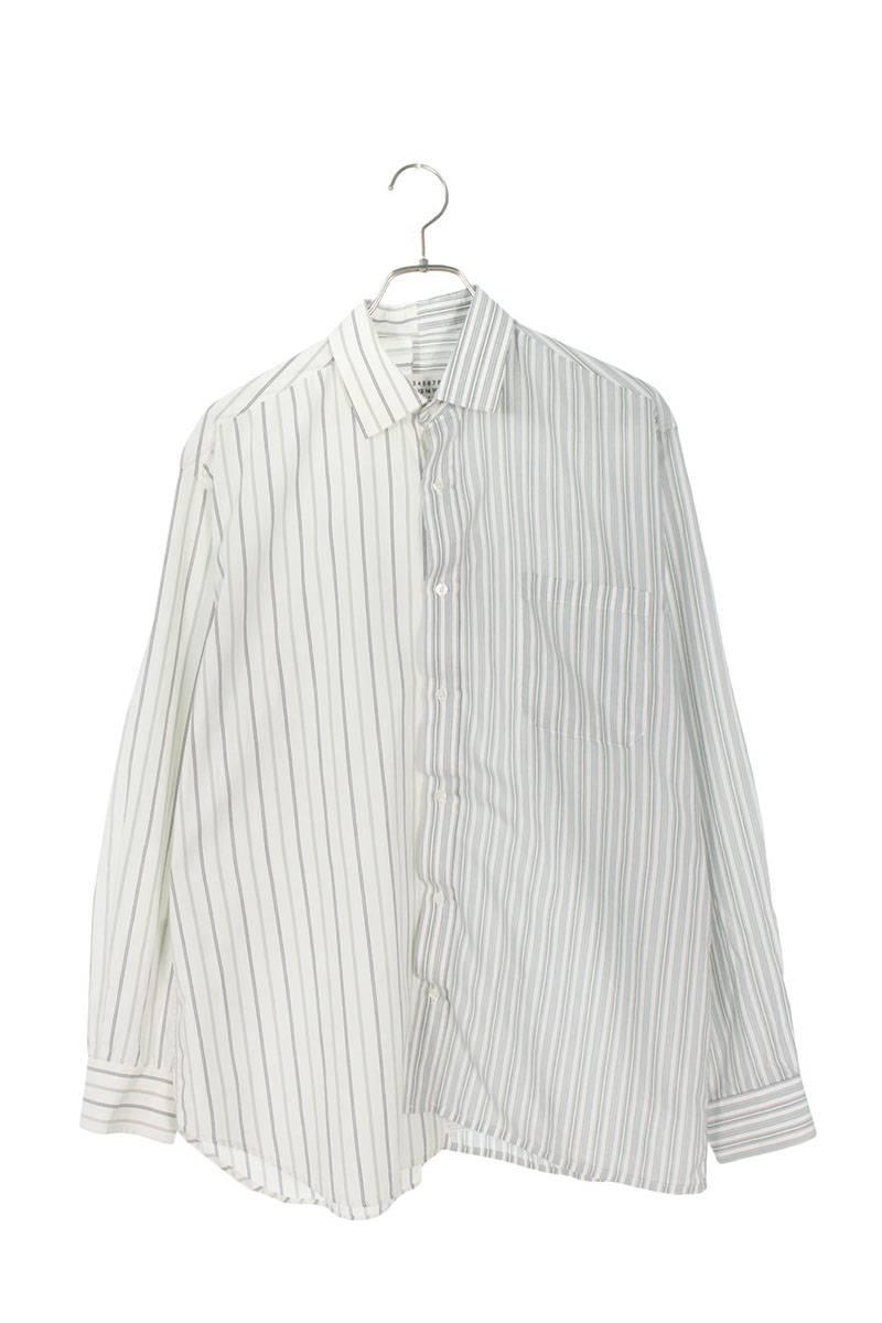 ドッキングストライプオーバーサイズ長袖シャツ