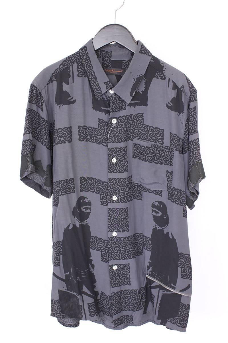 バックジップ装飾総柄半袖シャツ