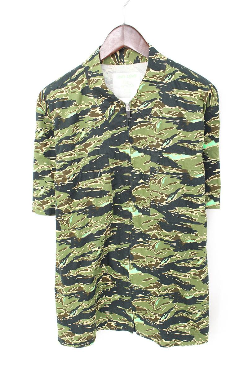 カモフラ総柄ジップアップ半袖シャツ