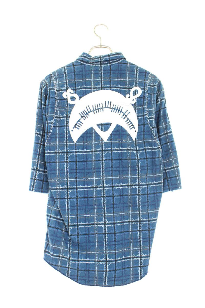 SCAB期バックプリントツギハギチェック半袖シャツ