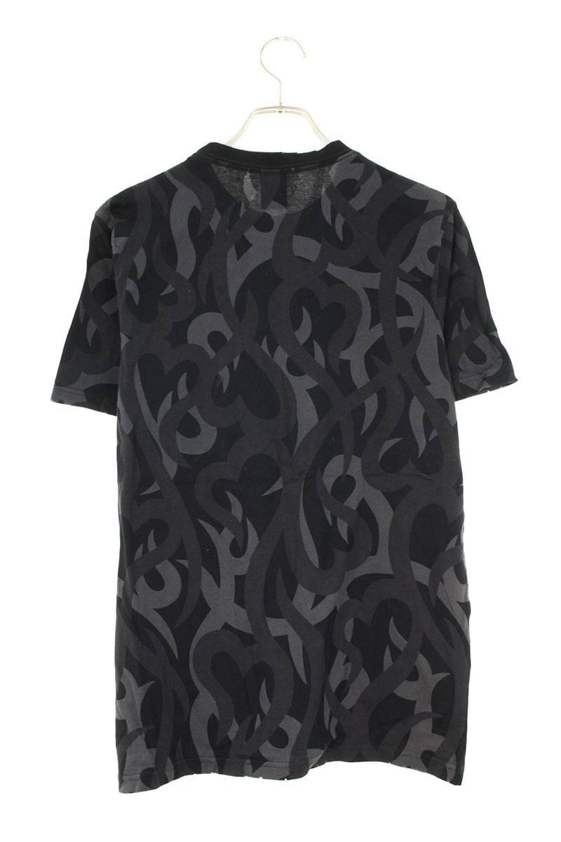 ダメージ加工トライバルハートプリントTシャツ